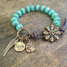 """Wing & Prayer """"Faith"""" Knotted Leather Wrap Bracelet,  Beach Chic Jewelry $35.00"""