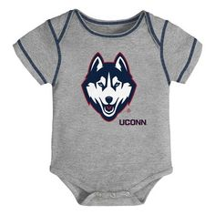 UCONN Huskies Watching With Mommy Baby Short Sleeve Bodysuit