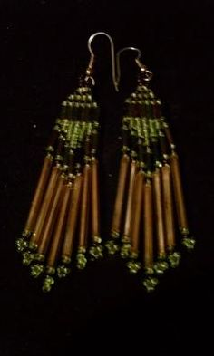 "EXTRAVAGANT UNIQUE 4"" NATIVE STYLE SEAD BEADS GOLD TUBE EARRINGS - FREE SHIPPING"