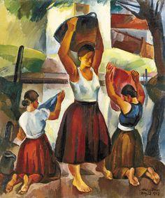 Nagy, Imre (Zsögödi) Girls by the river (Washerwomen), 1929 Figure Painting, Art Nouveau, Auction, Gallery, Artwork, Artists, Washer, Paintings, River