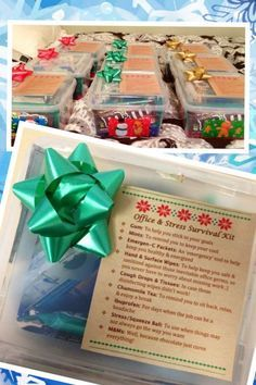 """The """"Office & Stress Survival Kits"""" I made for my coworkers this year for Christmas! They were definitely a hit :):"""