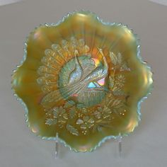 Carnival Glass Peacock on the Fence Dish