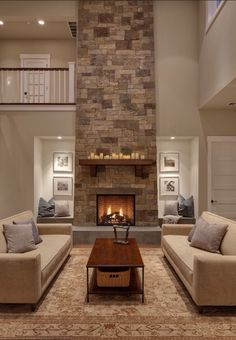 Love how the stone goes all the way up on that fireplace, makes for a nice focal point/conversation piece!