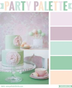 Party Palette: Color inspiration in pastel mauve, sea green, and peach tones #colorpalette