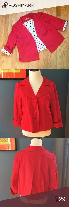 """Notations Red Blazer with Polka Dot Lining Bright and fun red blazer with black and white polka dot lining. Featuring a 3-button front closure, this blazer has some good stretch (97% cotton, 3% spandex). Shoulder 15.5"""", Bust 19"""", Length 21. EUC Notations Jackets & Coats Blazers"""