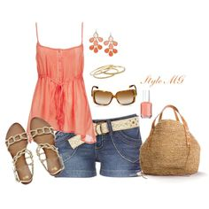 Color me coral in belted shorts, created by romigr99 on Polyvore