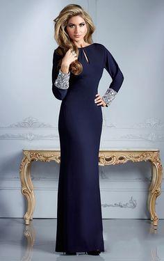 Floor-length Sheath/Column Jewel Blue Chiffon Mother Of The Bride Dress