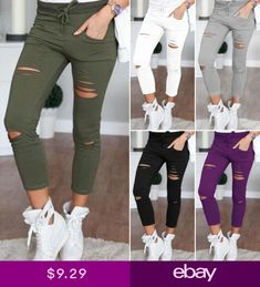 0e75ae6ed81 New 2018 Skinny Jeans Women Denim Pants Holes Destroyed Knee Pencil Pants  Casual Trousers Black White Stretch Ripped Jeans