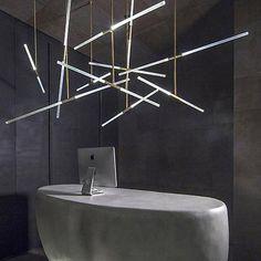 LED Tube Light Modern Contemporary Gold Ceiling Light Pendant Hanging Lamp (2)