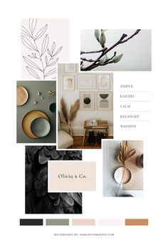 Color and brand inspiration for acupuncture clinic Raven & Wren Wellness Mood Board Interior, Moodboard Interior Design, Interior Logo, Interior Design Boards, Web Design, Design Ideas, Concept Board, Colour Board, Grafik Design