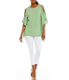 b78633c5890 MICHAEL Michael Kors Stripe Knit Jersey Logo Shoulder Bar Dolman Slit  Sleeve Top