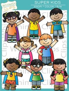 The Super Kids clip art set contains 16 image files, which includes 8 color images and 8 black & white images in png and jpg. This fun set features 8 kids wearing capes. All images are 300dpi for better scaling and printing.