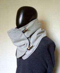Hmmm- cowl from upcycled blazers? Men scarf. Extra Wide, Grey wool 100%. Trendy, modern and cozy.