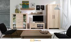 CEZAR OAK FURNITURE SET 01 Made of high quality laminated boards with abs Standard version is equipped with LED illuminating glass shelf Suitable for Living Room Furniture, Furniture Sets, Glass Shelves, Corner Desk, Home Decor, Abs, Boards, Minimalist, Asylum