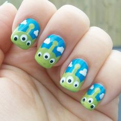 These Disney Nail Art Ideas Will Inspire Your Next Magical Manicure Every year, when the Super Bowl ends, we feel a major twinge of envy. Not because we want to be covered in Gatorade, but because of that one player who always Coffin Nails Glitter, Cute Acrylic Nails, Cute Nails, Disney Nail Designs, Nail Art Designs, Trendy Nail Art, Cool Nail Art, Monster Inc Nails, Toy Story Nails
