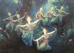 """The seven bathing Kinnaris"", 1995, oil on canvas, by Chakrabhand Posayakrit, a Thai national artist"