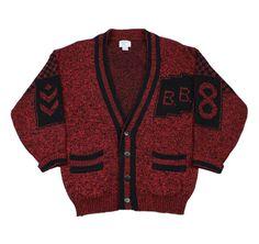 Vintage 90s Bugle Boy Cardigan Sweater in Red/Black Mens Size Medium