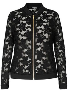 City Chic SEXY LACE BOMBER JACKET - City Chic Your Leading Plus Size Fashion Destination #citychic #citychiconline #newarrivals #plussize #plusfashion