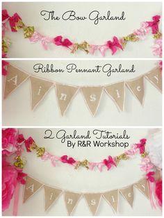 R & R Workshop: 2 Garland Tutorials: {Part 2} Ribbon Pennant Garland