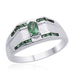 Liquidation Channel | Kagem Zambian Emerald Men's Ring in Platinum Overlay Sterling Silver (Nickel Free)