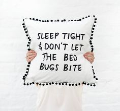 Sleep Tight & Dont Let The Bed Bugs Bite Cushion Cover with Pom Pom Trim. Kids Room or Nursery Wordy Cushion.