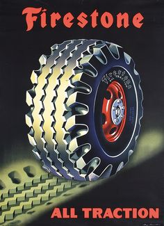 Buy online, view images and see past prices for Original FIRESTONE Tire Automobile Poster. Vintage Advertising Posters, Vintage Advertisements, Vintage Posters, Vintage Labels, Vintage Ads, Jeep 4x4, Firestone Tires, Man Cave Metal, Black Panther Marvel
