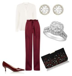 A fashion look from September 2017 featuring white long sleeve shirt, high-waisted pants and floral handbags. Browse and shop related looks. Royal Fashion, Girl Fashion, Fashion Dresses, Casual Wear, Casual Outfits, Royal Clothing, Trouser Outfits, Dressy Pants, Classy Girl