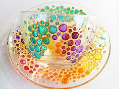 Bubbles Tea cup Set Coloured Tea Set by StainedGlassHandmade