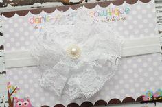 White lace flower headband newborn infant by DanicasChicBowtique, $8.00