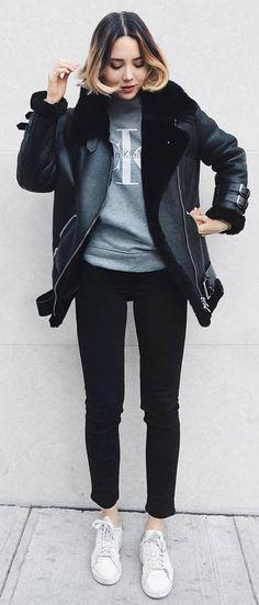 fall outfit idea jacket   sweatshirt   skinnies   sneakers