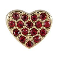 GOLD HEART WITH RED CRYSTALS