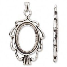 Ornate Art Deco Antiqued Silver Plated 25x18mm Cabochon Setting Pendant