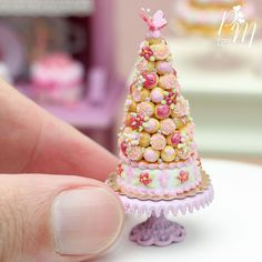 Miniature pink croquembouche