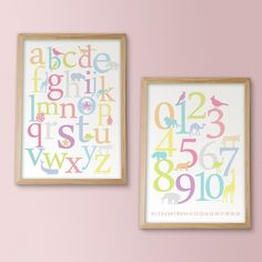 Animal alphabet and numbers wall art by Ink Tree Press