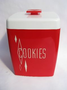 Photo of Cherry red / white vintage plastic COOKIES cookie jar, also Tea canister #2