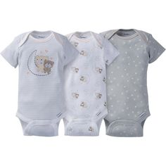 9c2fd25355 3-Pack Neutral Grey Bears Onesies® Brand Short Sleeve Bodysuits Baby  Checklist