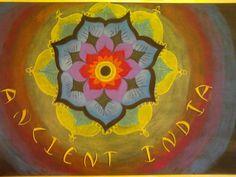 Waldorf ~ 5th grade ~ Ancient India ~ Title Page ~ Lotus Mandala ~ chalkboard drawing