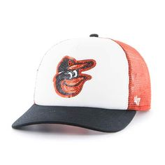 sports shoes 5b9d3 93a85 Baltimore Orioles Women s 47 Brand Orange Glimmer Captain Adjustable Hat  Baltimore Orioles Hat, Orioles Logo