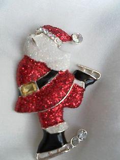 Skating Santa Christmas Pin.