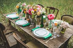World of Oz Inspiration featuring Matthew Christopher's Chloe Gown / #Wedding #Bridal #Bride / green napkin and dotted plate