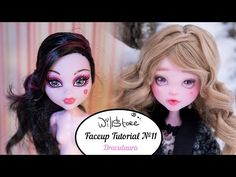 Faceup Tutorial №11 OOAK Draculaura repaint custom doll - YouTube
