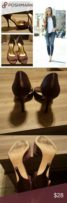 NEW Cathy Jean heels Open toe brown satin heels. Heel about 4 1/2 inches. Great condition. Cathy Jean Shoes Heels