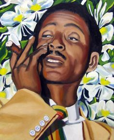 "Benny Moré and Mariposa Flowers, Oil on Canvas, 24""x20"" © 2007 by Lili Bernard.  Collection of Marcia Lewis.  Benny Moré (1919-1963) was like the Nat King Cole of Cuba. His beautiful tenor voice was one to whom I grew up listening, thanks to my parents."