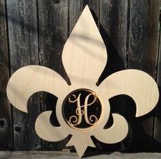 Fleur de Lis Wooden Monogram wreath