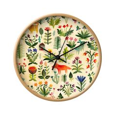 Beautiful blossoms bloom and wildlife abounds on the face of this charming In the Flowers Wall Clock. Rendered in vibrant colors, this gorgeous design will easily add a dash of character to any empty w...  Find the In the Flowers Wall Clock, as seen in the Wall Clocks Collection at http://dotandbo.com/category/decor-and-pillows/clocks/wall-clocks?utm_source=pinterest&utm_medium=organic&db_sku=121976