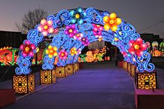 As I walked over the bridge and into the Indiana Chinese Lantern Festival I was transported into a dream. It was a bright and colorful breathtaking dream. Christmas Arch, Chinese Lantern Festival, Light Tunnel, Corporate Event Design, Cricket Wallpapers, Led Projects, Arab Wedding, Egg Carton Crafts, Wedding Stage Decorations