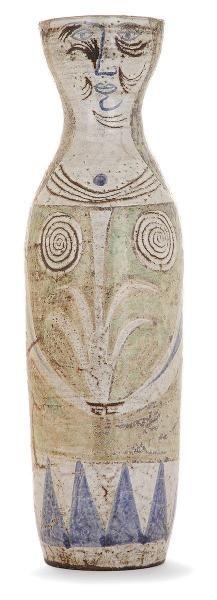 """Jean DERVAL (1925-2010) - Grand vase anthropomorphe en terre chamottée, circa 1956,[...], mis en vente lors de la vente """"Céramiques des Années 50"""" à Tajan   Auction.fr"""