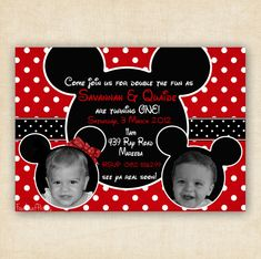 mickey and Minnie Birthday | Mickey and Minnie Mouse Twin Birthday Party Invitation - Printable 4x6 ...