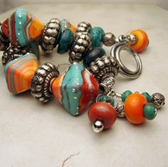 Lampwork+Bracelet+and+Earrings+Set+Silver+by+StoneDesignsbySheila,+$98.00