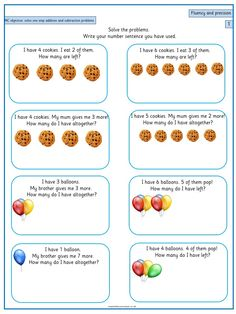 Solve one-step problems that involve addition and subtraction, using concrete objects and pictorial representations - 2 Pre K Math Worksheets, English Worksheets For Kids, Maths Puzzles, Math Addition, Addition And Subtraction, Year 1 Maths, Problem Solving Activities, Free Math, Math For Kids